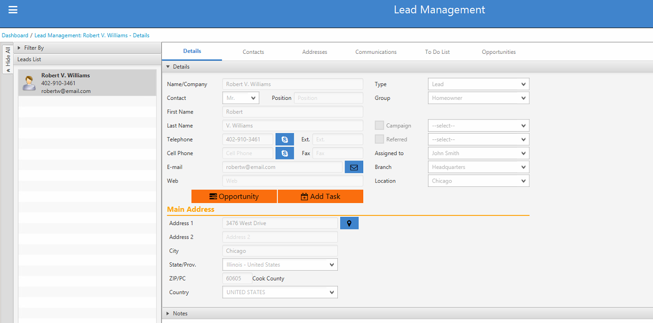 Create task from lead management details