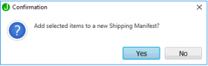 confirm adding items to new shipping manifest